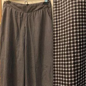 High waist Wide leg houndstooth pants
